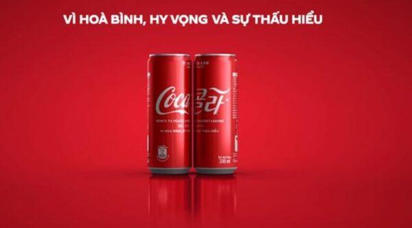 Cocacola kết hợp đặc tính của sản phẩm với xu hướng vì hoà bình thế giới để làm content marketing