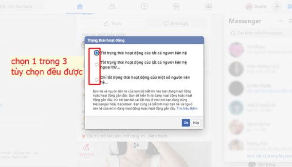 Chọn tiếp tuỳ chọn phù hợp khi không muốn đối tượng thấy thời gian online trên facebook