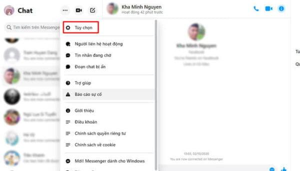 Tuỳ chọn để ẩn thời gian online trên giao diện Messenger