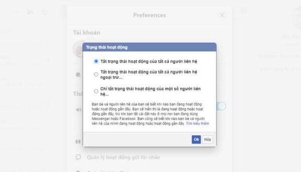 Tắt thời gian online thì tương đồng nick facebook không online