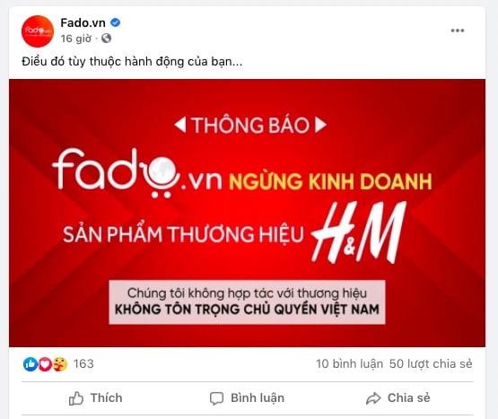 Fado.vn tuyên bố ngừng kinh doanh sản phẩm thương hiệu H&M