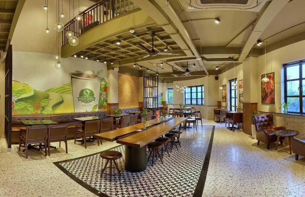Không gian đẹp mắt của Phúc Long là một trong những điểm nhấn lọt top 15 thương hiệu cà phê nổi tiếng nhất Việt Nam