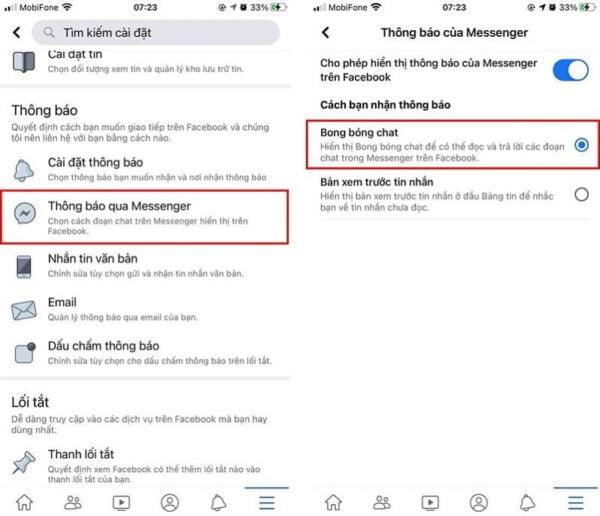 """Người dùng iPhone chọn mục """"Thông báo qua Messenger"""". Nếu Facebook đã hỗ trợ, người dùng có thể bật tính năng """"Bong bóng chat""""."""