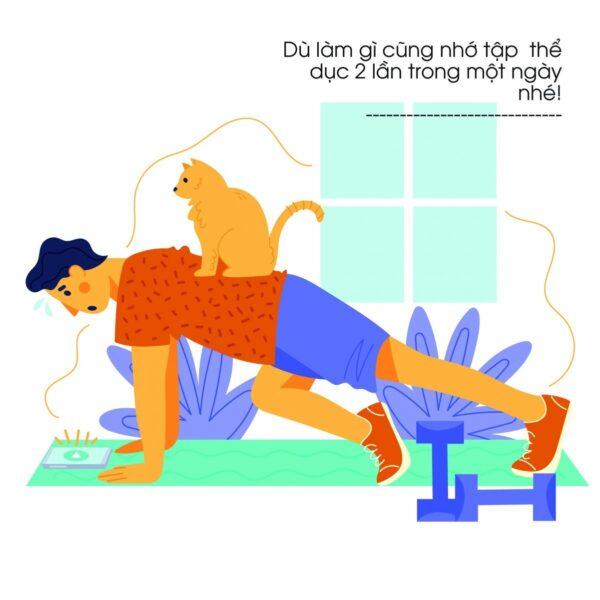 Dù làm gì cũng nhớ tập thể dục 2 lần trong một ngày nhé!